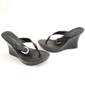 Aldo Black Leather Wedge Heels Size 8 / EUR 39 🐾